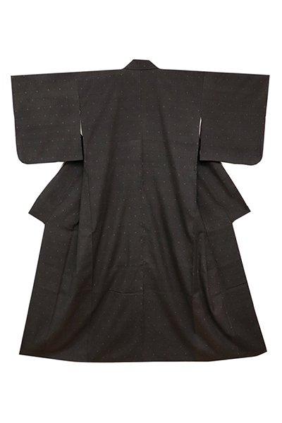 銀座【着物2401】本場結城紬 黒色 菱小絣 (証紙付)