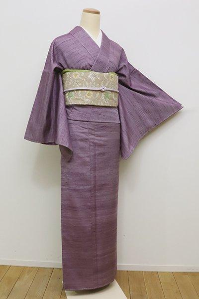 銀座【A-2730】(広め)紬 淡い古代紫色 無地(しつけ付)