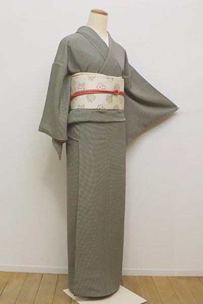 銀座【C-1568】(S)繍一ッ紋 江戸小紋 鶸茶色×煎茶色 角通し(しつけ付)