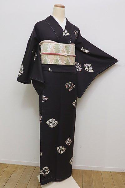 銀座【D-2148】(細め)小紋 黒色 四季花の菱文(しつけ付)
