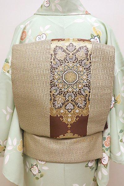 あおき【L-4352】袋帯 白橡色 装飾文