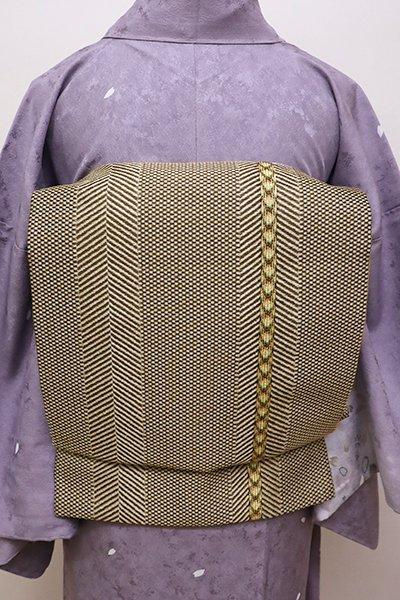 あおき【L-4353】西陣 いづくら製 袋帯 組織りの縞 (証紙付)
