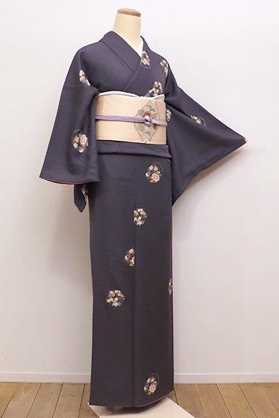 銀座【D-2152】(S)小紋 藤煤竹色 雪輪に花の丸文