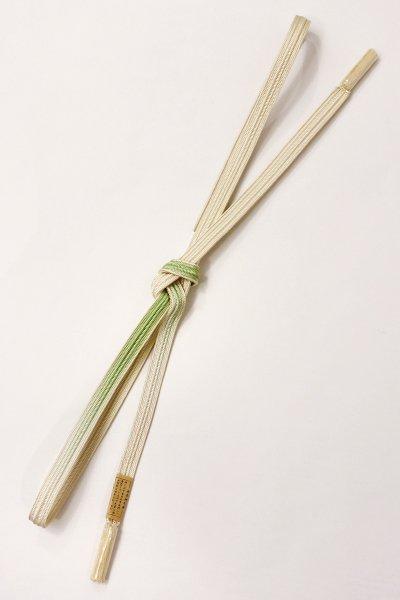 銀座【G-1223】京都 衿秀製 帯締め 畝打組 鳥の子色×若葉色 暈かし(新品)