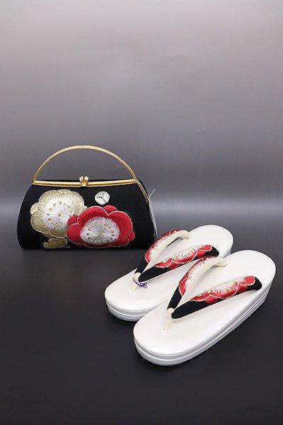 あおき【G-1225】京都 衿秀製 フォーマル 草履・バッグセット 黒色 刺繍 梅の図(新品)