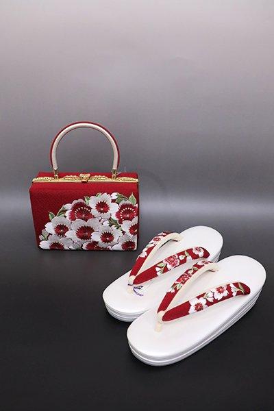 あおき【G-1228】京都 衿秀製 フォーマル 草履・バッグセット 刺繍 赤色 桜の図(新品)