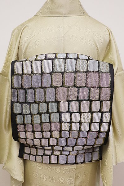 銀座【L-4356】袋帯 檳榔子染色 石畳文