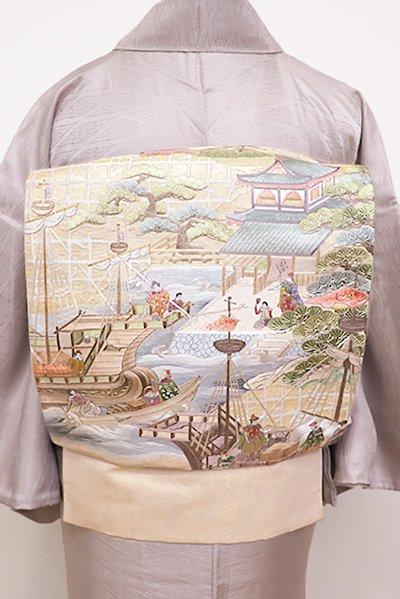 銀座【L-4359】刺繍 袋帯 練色 渡来人のいる風景