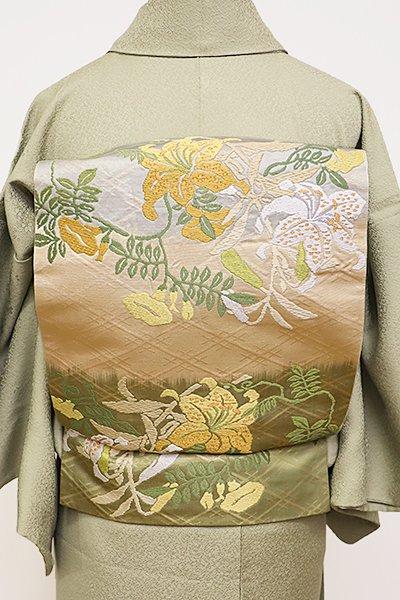 銀座【L-4361】袋帯 砥粉色×柳染色 百合の図
