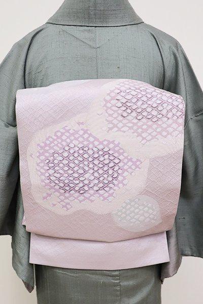 銀座【L-4362】西陣 帯屋捨松製 袋帯 白藤色 抽象文(証紙付・新品)