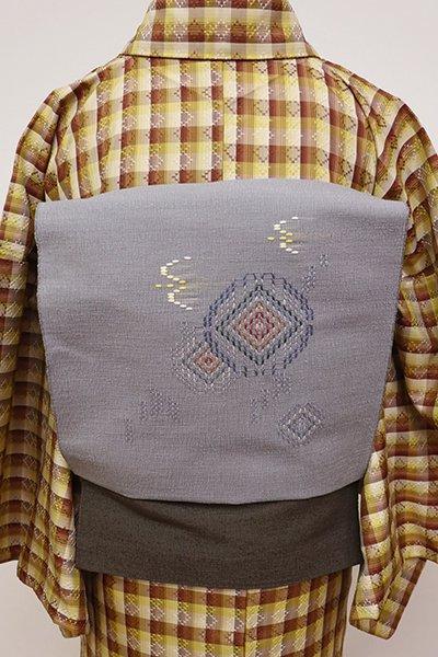 あおき【K-5866】花織 八寸名古屋帯 薄鈍色 トゥイグワーなど(証紙付)