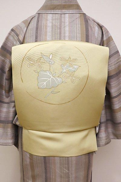 銀座【K-5867】塩瀬 染名古屋帯 蒸栗色 ドクダミの図