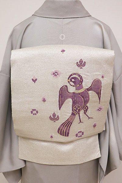 銀座【L-4364】袋帯 帝王紫 銀色 コプト花鳥文