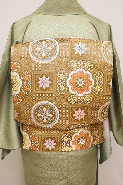 銀座【L-4365】西陣 織悦製 袋帯 金色 蜀江華文(反端付)