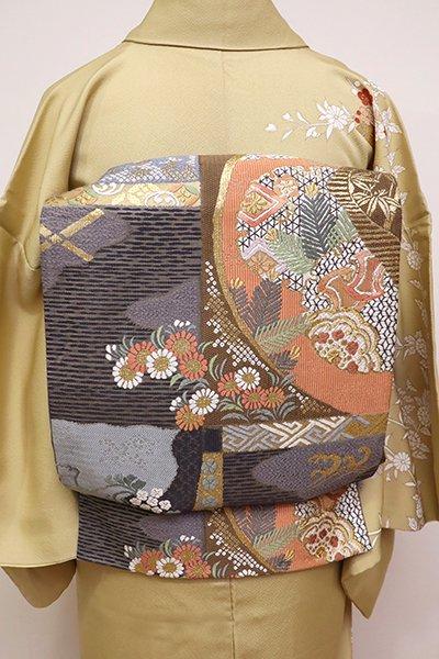 銀座【L-4366】西陣製 袋帯 墨色 吉祥草花文(証紙付)