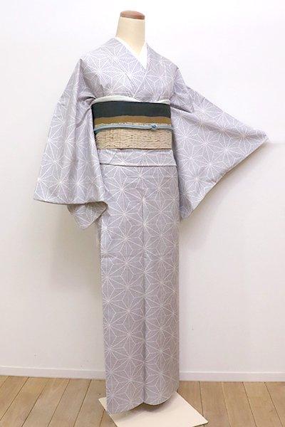 銀座【A-2737】白大島 白色×黒色 麻の葉文