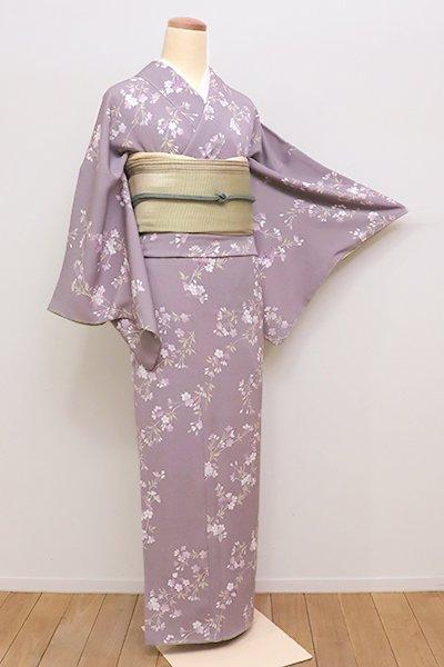 銀座【D-2155】(S)小紋 紫鼠色 桜の枝の図(反端付)