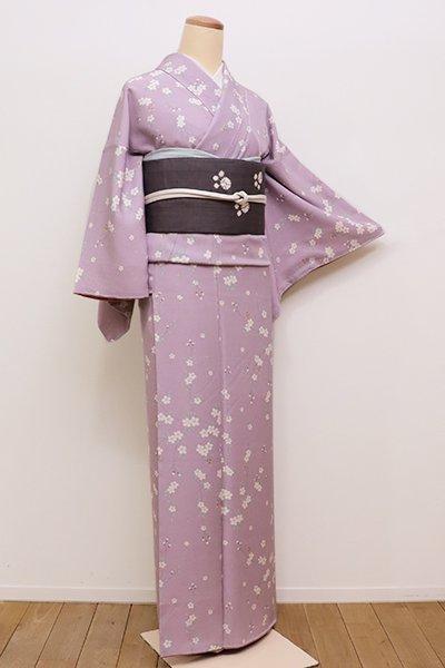 銀座【D-2156】縮緬地 小紋 淡い浅紫色 枝垂れ桜の図(しつけ付)