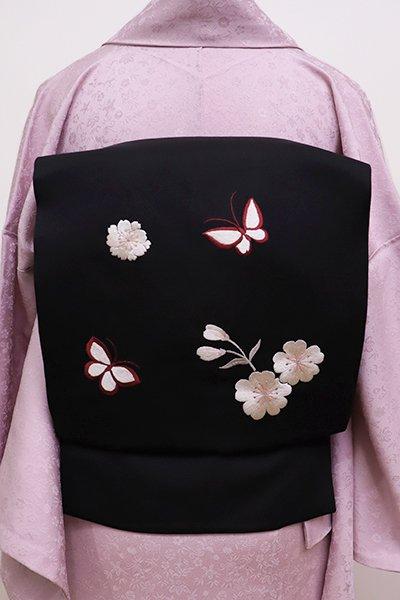 あおき【K-5870】刺繍 名古屋帯 黒色 桜に蝶の図