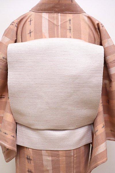 銀座【K-5871】織八寸名古屋帯 灰桜色 無地