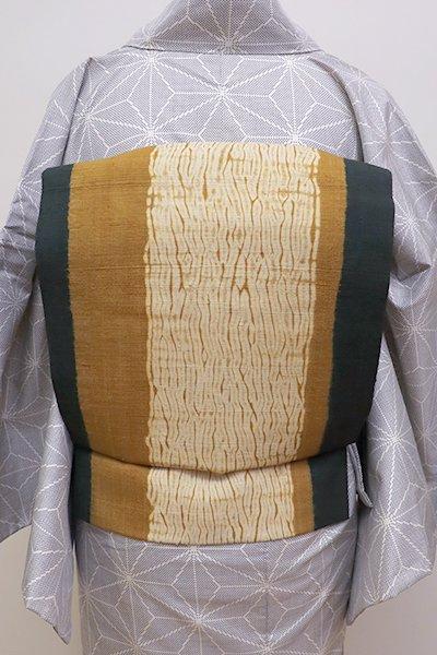 あおき【K-5872】紬地 絞り染め 名古屋帯 黄枯茶色×虫襖色 竪縞