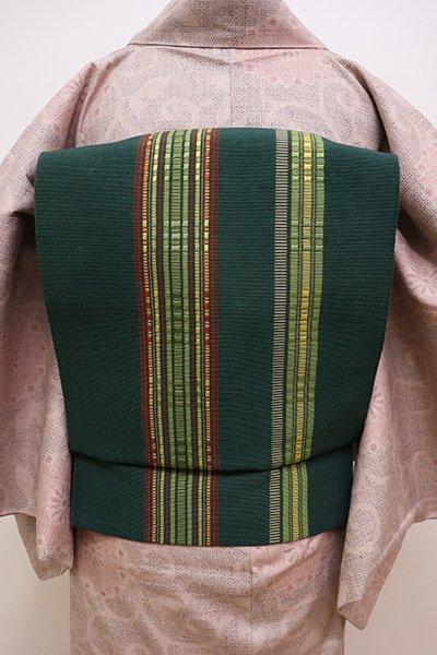 銀座【K-5873】首里道屯織 八寸名古屋帯 天鵞絨色 竪縞(証紙付)
