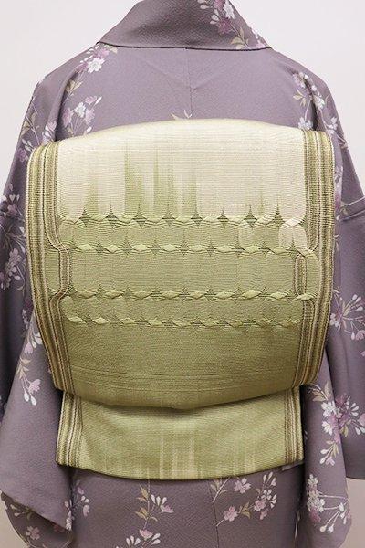 銀座【L-4367】組織り 袋帯 淡い抹茶色×練色 幾何文