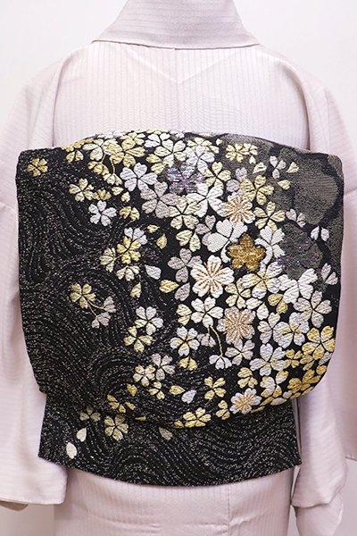 銀座【L-4368】西陣 帯匠誉田屋 袋帯 黒色 夜桜の図