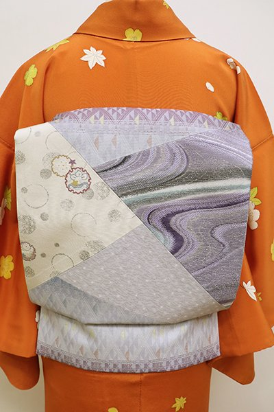 銀座【K-5876】リバーシブル 京袋帯 霞色系 幾何文