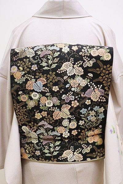 銀座【L-4369】西陣 服部織物製 袋帯 黒色 桐に秋草(落款入)
