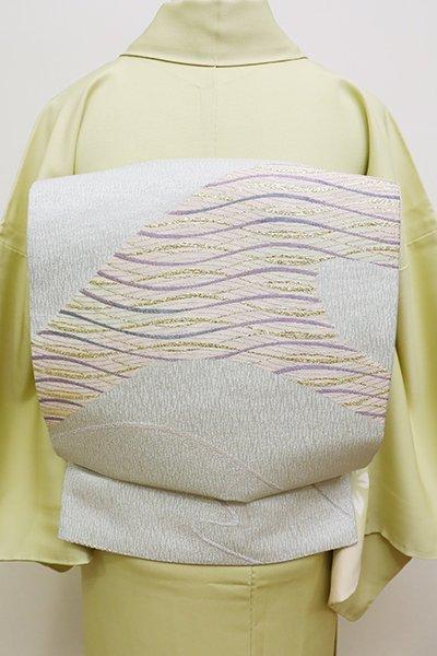あおき【L-4370】袋帯 白花色 波のような抽象文