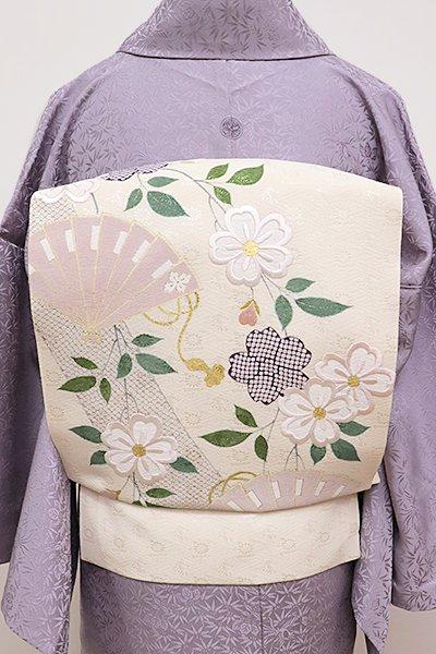 銀座【K-5880】工芸キモノ野口製 刺繍 名古屋帯 薄卵色 枝垂れ桜に檜扇の図