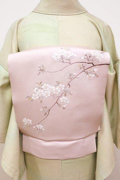 銀座【K-5883】塩瀬 京繍 名古屋帯 薄桜色 桜の枝の図(青山八木扱い・畳紙付)