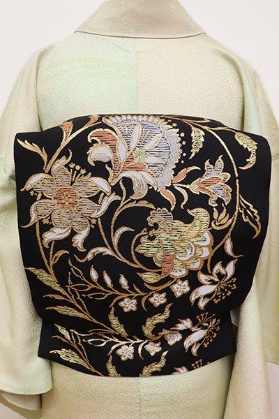 銀座【K-5884】西陣 川島織物製 織名古屋帯 黒色 唐花文(落款入)