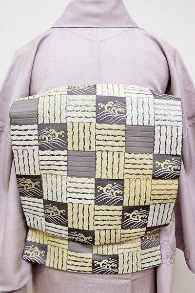 銀座【L-4374】袋帯 煤色×金色 石畳に波文