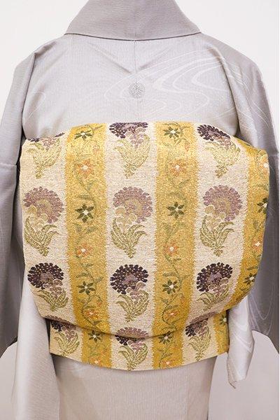 銀座【L-4379】袋帯 山吹茶色×白橡色 縞に更紗花文(落款入)