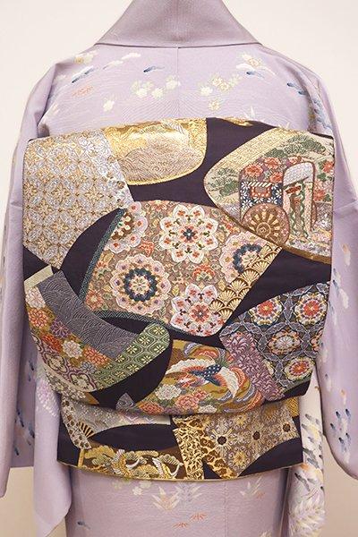 銀座【L-4380】袋帯 褐色 裂散らし
