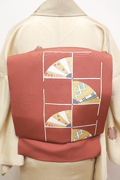 銀座【K-5889】塩瀬 染名古屋帯 洗朱色 石畳に扇の図