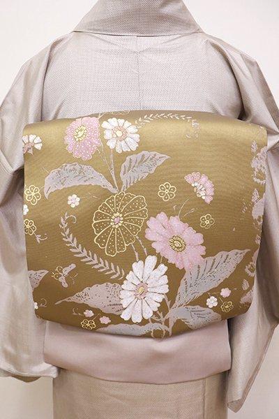 あおき【K-5892】塩瀬 染開き名古屋帯 暗い灰桜色×金色 更紗花鳥文