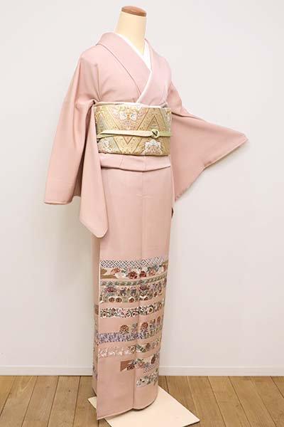 銀座【B-2145】刺繍 色留袖 水柿色 鬘帯の横段