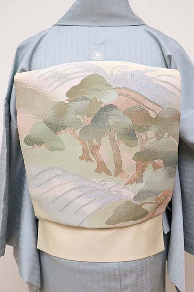 銀座【K-5902】本綴れ 八寸名古屋帯 鳥の子色 松に波の図