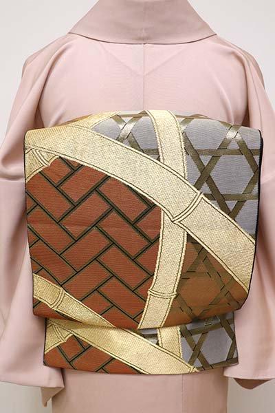銀座【L-4386】西陣 川島織物製 本袋帯 黒色 蛇籠文様(落款入)