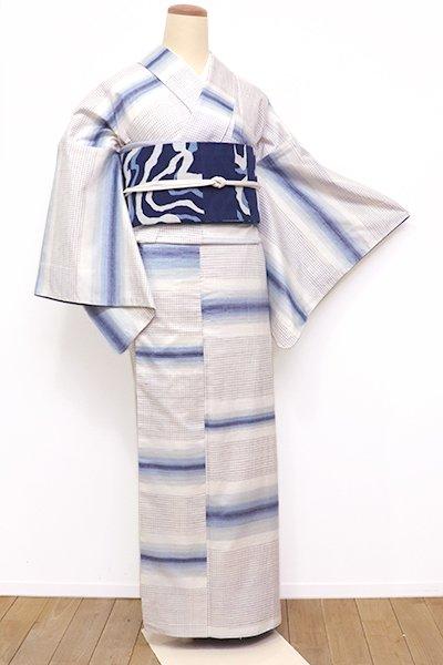 銀座【A-2748】(広め)紬 象牙色 藍暈かし横段に小格子文 (胴抜き仕立て)