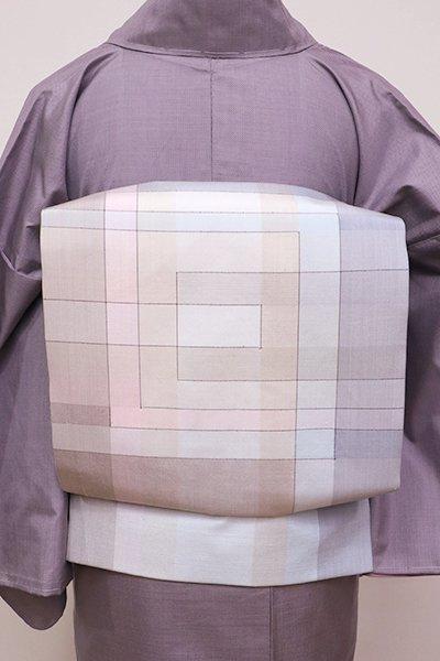 WEB限定【K-5906】吉田美保子作 二部式名古屋帯 銘「静かな白の重なり」(証紙付)