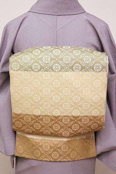 銀座【L-4389】袋帯 淡い薄黄色 段暈かしに有職文様 (未使用)