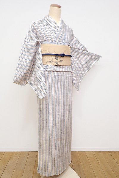 銀座【D-2170】(広め)単衣 紬地 小紋 白練色 多彩な手描き縞(証紙付・落款入)