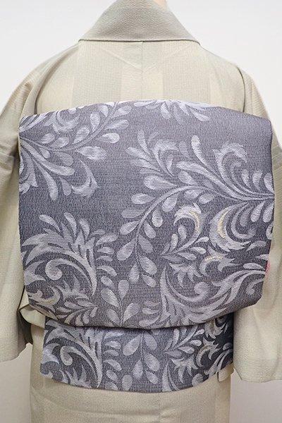 銀座【K-5913】織名古屋帯 藍墨茶色 唐草文