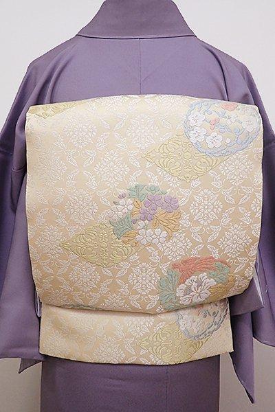 銀座【L-4390】袋帯 薄卵色 花鳥丸文