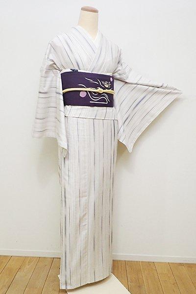 銀座【A-2751】単衣 長井紬 白練色 絣縞(反端付)