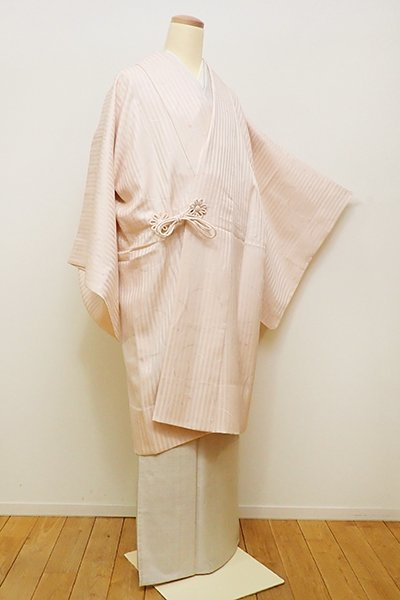 銀座【E-1013】単衣 道中着 淡い水柿色 抽象的な丸文